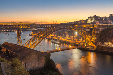 Panorama view of porto with dom luis bridge at twilight time,Portugal Stock Photo