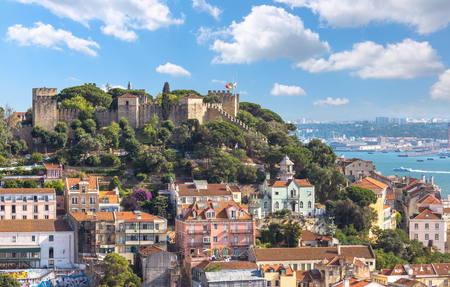 View of lisbon cityscape and saint Jorge castle skyline in sunny day ,Portugal