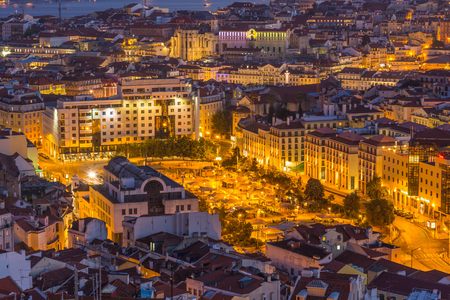 Lisbon city panorama skyline twilight ,Portugal