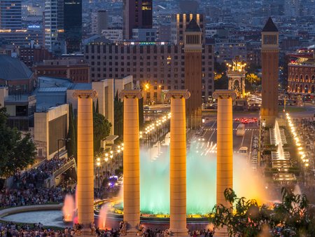 Aerial view of barcelona city from monjuic at dusk time,Spain Editorial