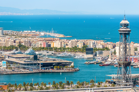 Aeria view of barcelona city and beach ,Spain Stock Photo