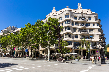 BARCELONA,SPAIN - JUNE 16,2017:Popularly known as La Pedrera It was the last private residence designed by architect Antoni Gaudí and was built between 1906 and 1910.