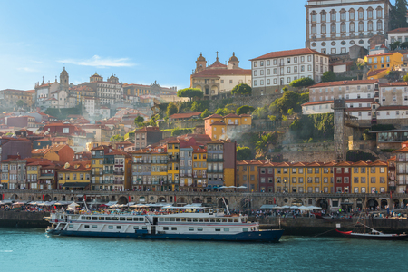 Porto old town wine port skyline with douro river on summer, Portugal