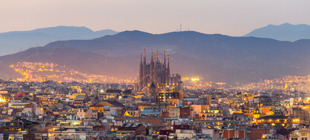 Panorama view of barcelona city and sagrada familia at dusk time,Spain 免版税图像