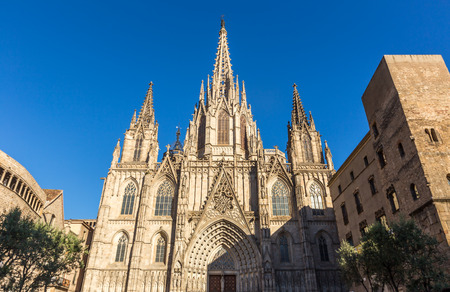 Barcelona cathedral at sunny day ,Spain Stock Photo