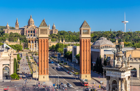 Aeria view of barcelona city and plaza espanya ,Spain