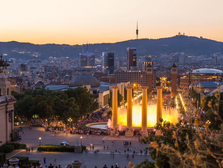 Aerial view of barcelona city from monjuic at dusk time,Spain Stock Photo
