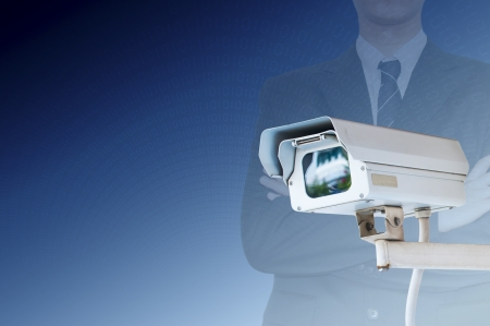 private security: Security Camera or CCTV on digital background Stock Photo