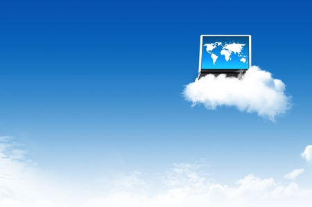 Computer on the cloud, for colud computing concept and business photo