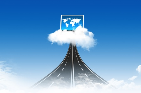 Road to Computer on the cloud, for colud computing concept and business photo
