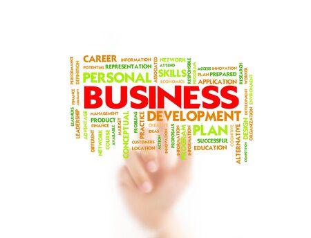 instances: L'uomo punta il dito sul concetto di affari, affari