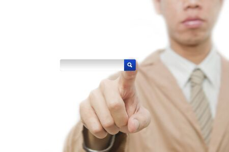 Businessman point finger on search touch screen Stock Photo - 10430050