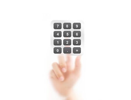 instances: Man finger pointing on digital calculator