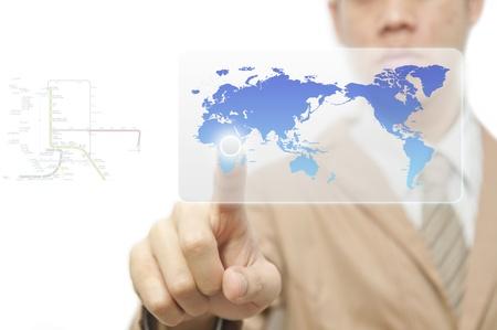 worldmap: Business man finger pressing a worldmap touchscreen button with index finger on africa