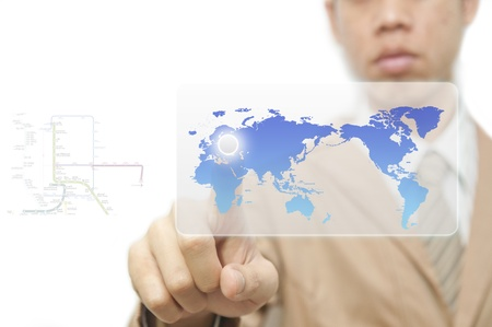 worldmap: Business man finger pressing a worldmap touchscreen button with index finger on europe