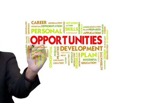 Business woman use hand drawing text on whiteboard, opportunities Stock Photo - 10430133