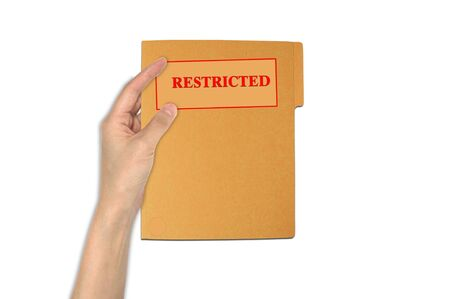 confidentiality: Hand holding restriced paper folder