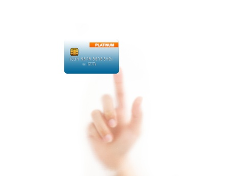 man finger pressing a credit card, isolated on a white background.  photo