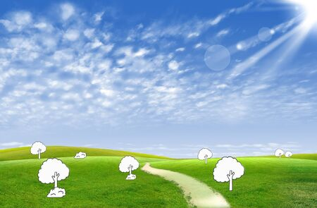 green field and white tree for green eco concept Stock Photo - 10430331