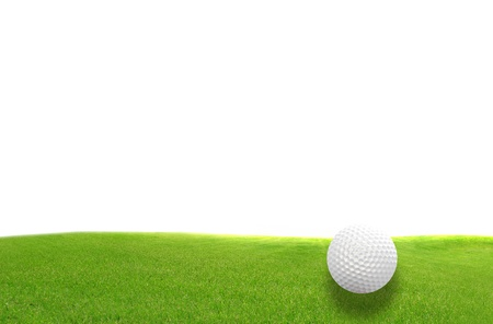 golf field: Close-up of golf ball with green grass isolated for web design background Stock Photo