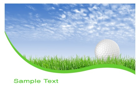 golf field: Close-up of golf ball with green grass and blue sky for web design background