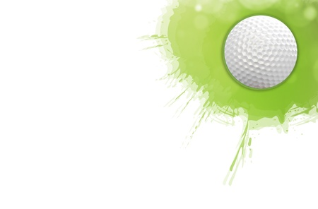 Golf Ball on the green grass for web design background  photo