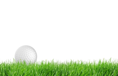 golf field: Close-up of golf ball with green grass isolated for web design background