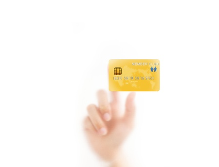 fingerprint card: man finger pressing a credit card, isolated on a white background.