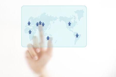 Hand showing organization chart isolated  on white background Stock Photo - 10430273