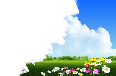 land scape: Paint land scape green grass background Stock Photo