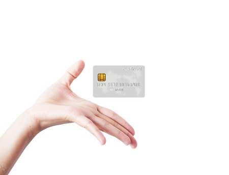 fingerprint card: Welcome hand showing card, isolated on a white background.  Stock Photo