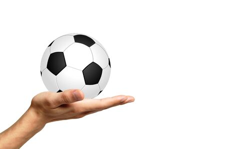 shootout: Soccer ball on a white background and hand
