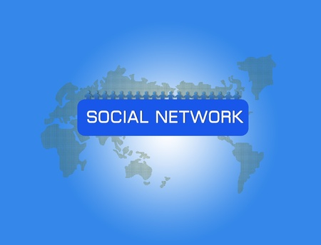 interacting: Social network concept with people photos in world map background Stock Photo