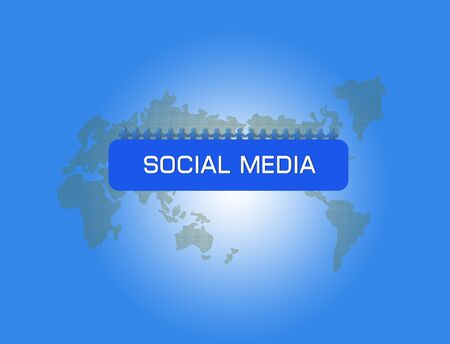 Social network concept with people photos in world map background photo