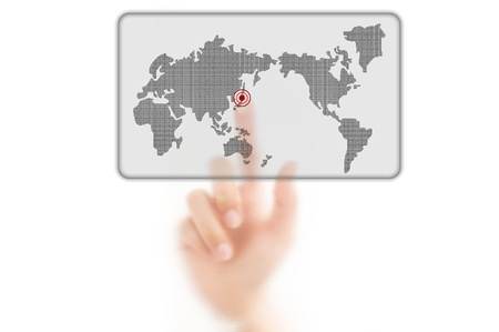 worldmap: man finger pressing a worldmap touchscreen button with index finger on japan, isolated on a white background.  Stock Photo