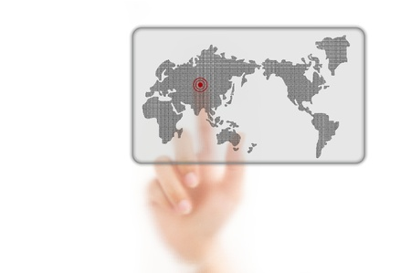 worldmap: man finger pressing a worldmap touchscreen button with index finger on asia, isolated on a white background.