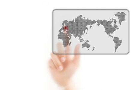 worldmap: man finger pressing a worldmap touchscreen button with index finger on europe, isolated on a white background.