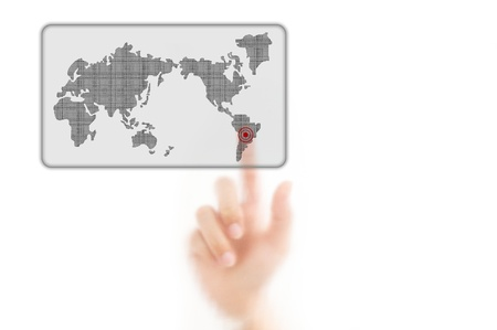worldmap: man finger pressing a worldmap touchscreen button with index finger on south america, isolated on a white background.