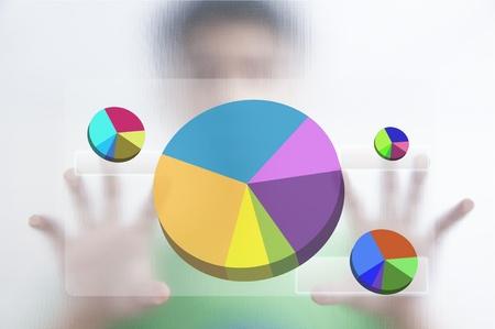 Businessman point finger on pie graph Stock Photo - 10473643