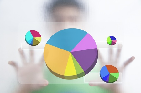 Businessman point finger on pie graph Stock Photo - 10473643