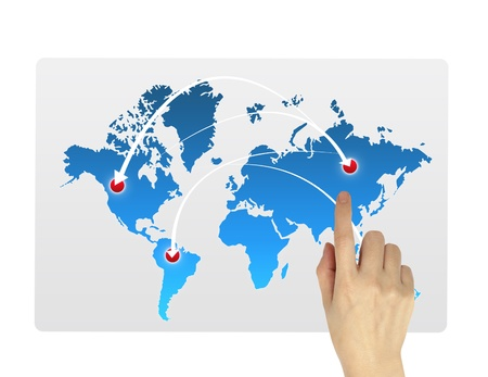 Hand pointing world map isolated  on white background Stock Photo - 10473295