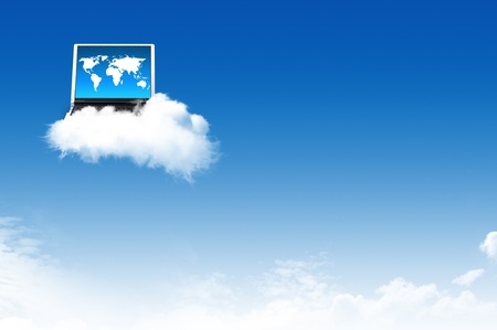 Computer on the cloud, for colud computing concept and business Stock Photo - 10473461