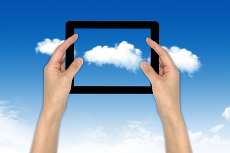 Computer on the cloud, for colud computing concept and business Stock Photo - 10473491