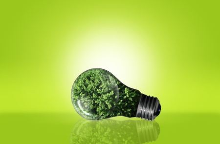 green bulb for green eco concept Stock Photo - 10473508