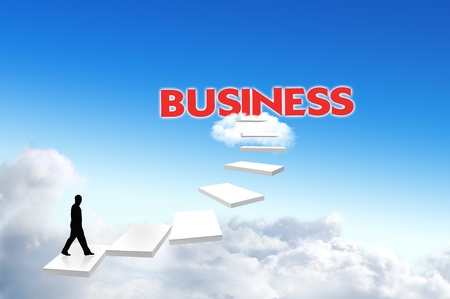 business man walk on the stairway to the target, business Stock Photo