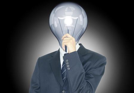 lamp head businessman have got an idea Stock Photo - 10473518