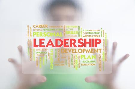 instances: L'uomo spingendo la nube parola business su schermo trasparente, la leadership