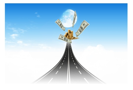 Road to the money target for business concept Stock Photo - 10473486