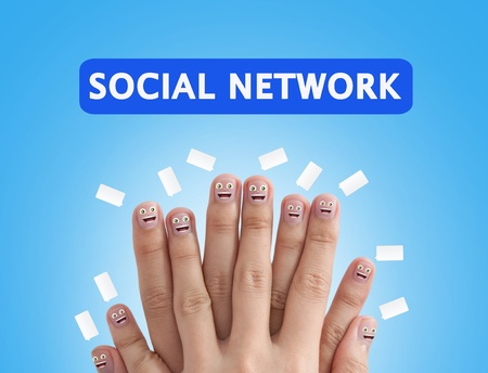 Smiling finger group for Social network concept photo