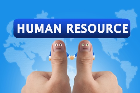 Smiling cartoon face on human thumb up on background,HUMAN RESOURCE Stock Photo - 10473528